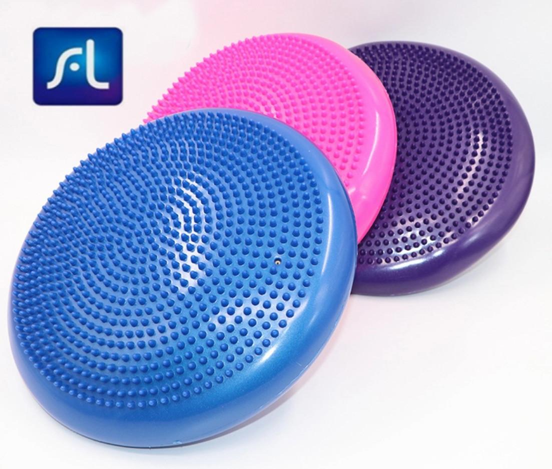 33CM Yoga Balance Disc Inflatable Stability Wobble Cushion Free Hand Pump C0X2